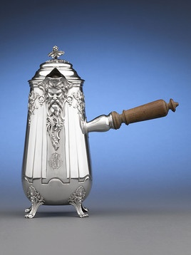 Silver Chocolate Pot - we just sold 3 pieces with this mascaron, but more ornate and by Puiforcat. Set of 3 (2 larger pots with ebony side-handle, one side-handled creamer)sold for $7995