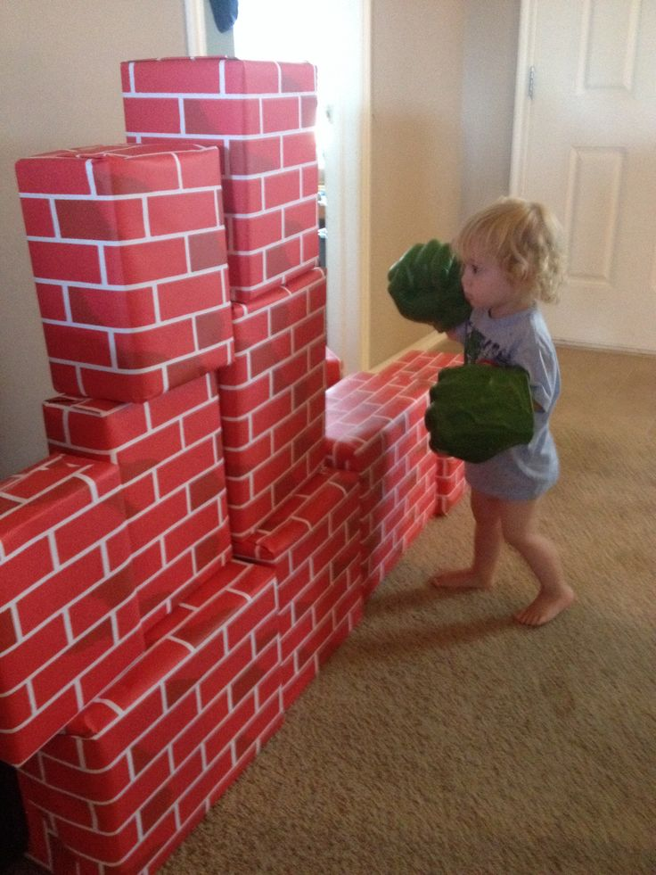 Wrap Empty Boxes In Brick Wrapping Paper For An Awesome