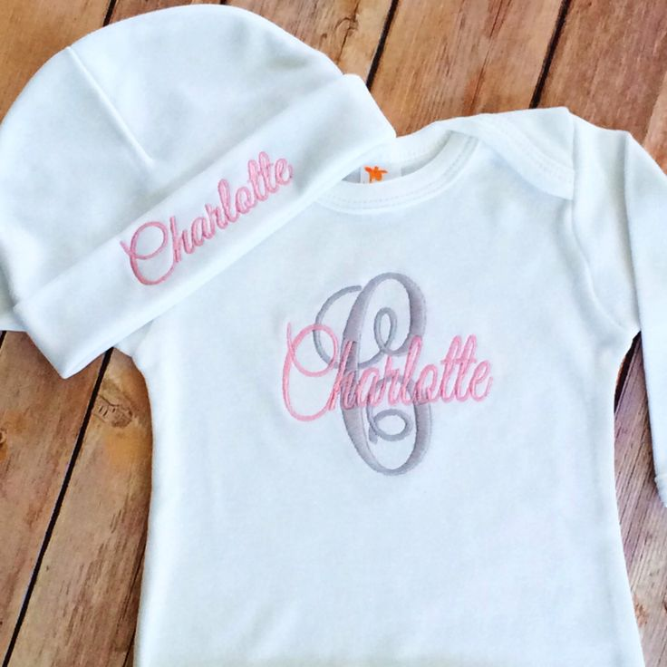 Monogram Initial Embroidered Gown, Monogram Baby Gown Beanie Hat, Personalized Take Home Outfit, Newborn Girl Gift Set, Personalized Infant by StitchinDoodle on Etsy https://www.etsy.com/listing/229677155/monogram-initial-embroidered-gown