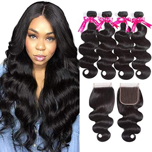 New Beauty Princess Brazilian Human Hair 4 Bundles Closure 8A Unprocessed Brazilian Hair Lace Closure Free Part Double Weft Brazilian Body Wave (18 20 22 24+16) online shopping