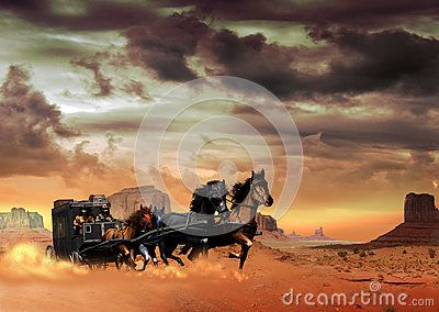Fast stagecoach with passengers, pulled by four horses, crosses the desert of Monument Valley raising a cloud of dust. We can see two men on the stagecoach. One guides the horses, the other one holds a rifle in his hands.