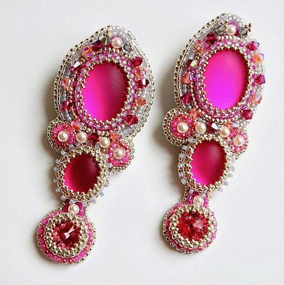 Statement Perlen-Ohrringe silber pink Swarovski Kristalle