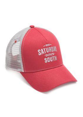 Saturday Down South Men's 'Saturday Down South'  Mesh Trucker Cap - Crimson/Gray - One Size
