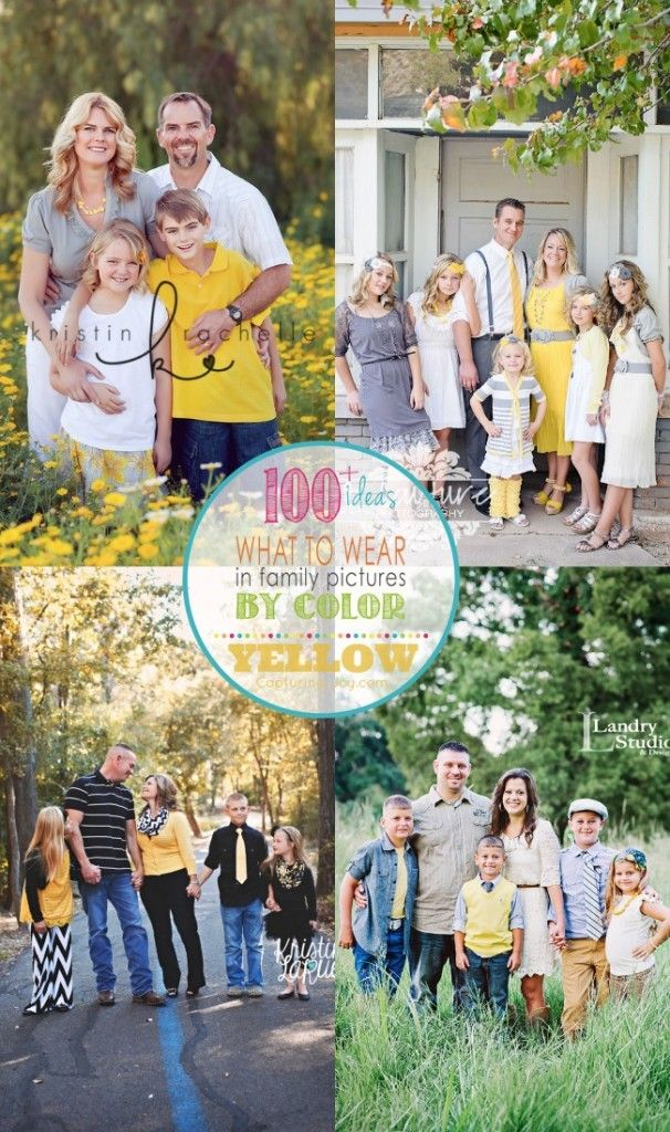 Family Picture Clothes by Color Series with over 100 ideas for family photo or photography session, this one is all about Yellow - Capturing-Joy.com