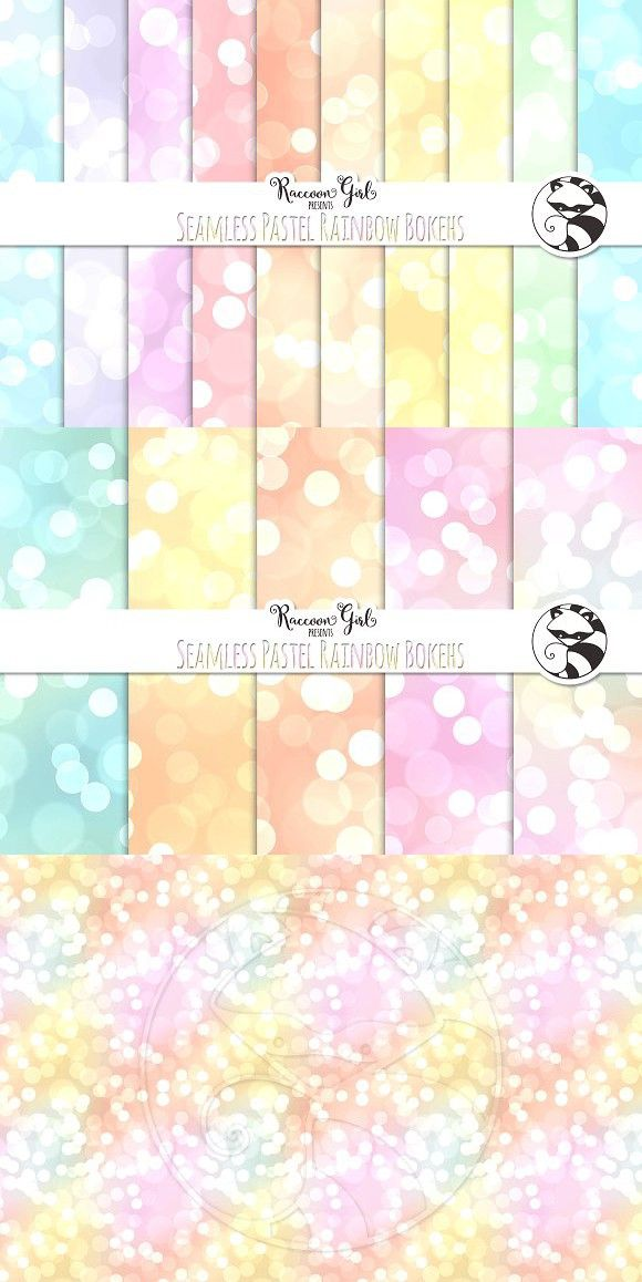 Seamless Pastel Rainbow Bokehs. Patterns. $3.00