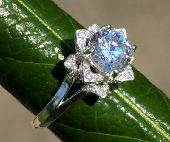 UNIQUE Flower Rose Lotus Diamond Engagement or by BeautifulPetra