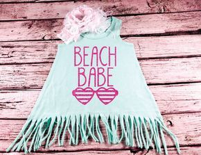 Baby Girl Clothes Beach Babe Cutest Babe on the Beach Fringe Dress Baby Girl Outfit Toddler Dress Mint Green Shirt Glitter Toddler Girl