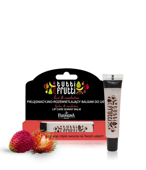 lyche & rambutan LIP CARE SHINNY BALM | Pielęgnacyjno-rozświetlający balsam do ust o fascynującym zapachu i blasku dojrzałego liczi i soczyście świeżego rambutanu.  Tropikalne szaleństwo, które wyzwala zmysły! ♥ http://farmona.pl/produkty/pielegnacja-twarzy/tutti-frutti-balsamy-ust/