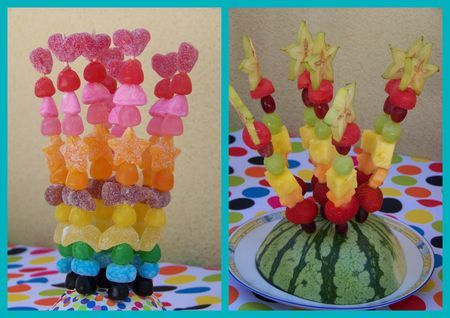 Rainbow Party de Miss Clow : Brochettes de Fruits et de Bonbons