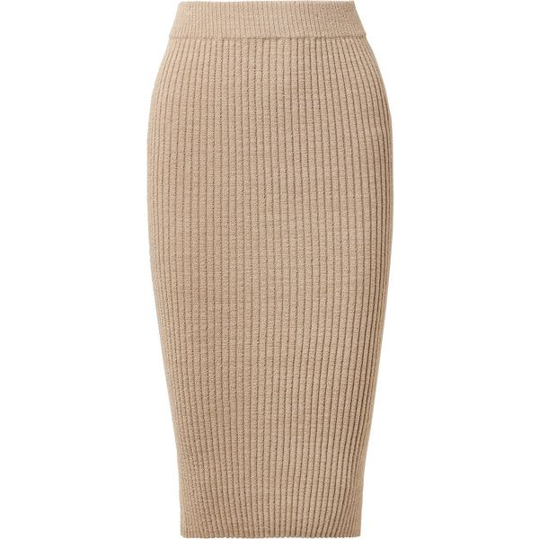 ELEVEN SIX Eva ribbed alpaca-blend skirt (9 540 UAH) ❤ liked on Polyvore featuring skirts, sand, ribbed skirt, pull on skirts, elastic waist skirt, elastic waistband skirt and beige skirt