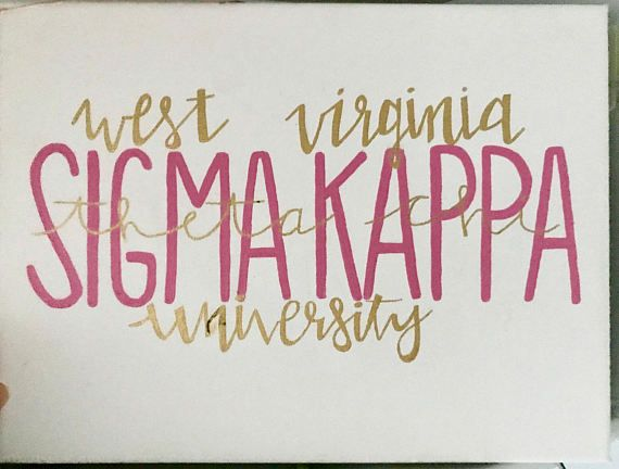 Might be my favorite canvas I sell! This simple but classy canvas puts the two things you love most on a canvas: your sorority and your university!   Simply include: •your sorority name, •your chapter name, •your university, •and the color you would like your sorority name written in