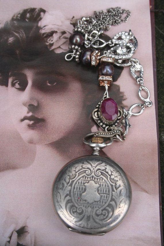 SALE Antique pocket watch necklace Assemblage necklace