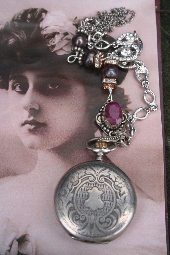 Pocket watch necklace Pocket watch steampunk by IRISHTREASURE