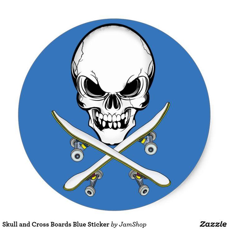 Skull and Cross Boards Blue Sticker