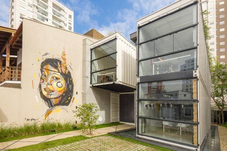 Inspirasi Desain Arsitektur Kantor Modern Pakai Kontainer Karya arsitek muda Rodrigo Kirck Arquitetura.    #kantor #architecture #kontainer