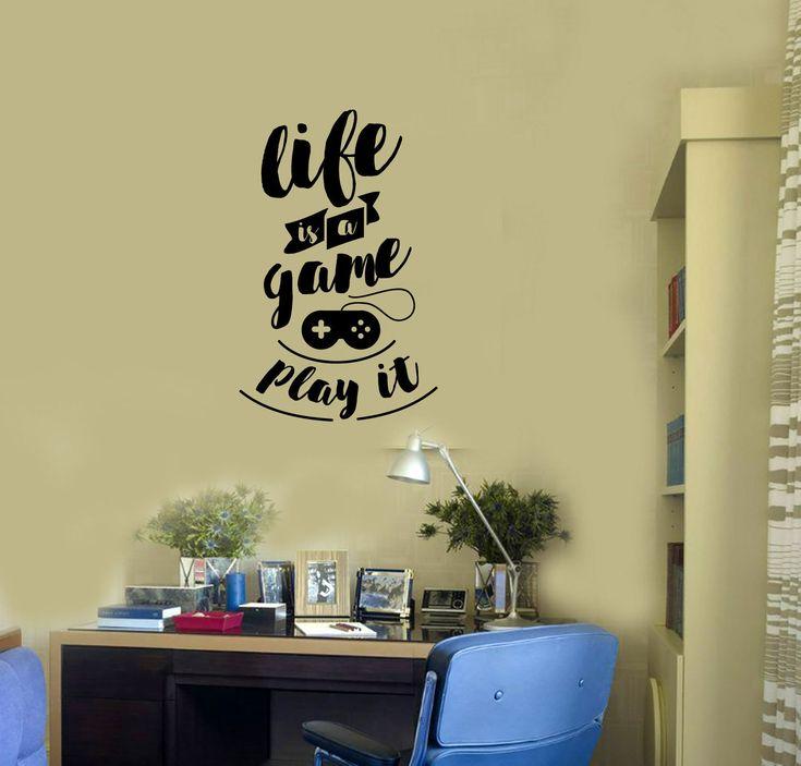 Gaming Quote Vinyl Wall Decal Video Games Gamepad Gamer Room Stickers Mural (#2863di)