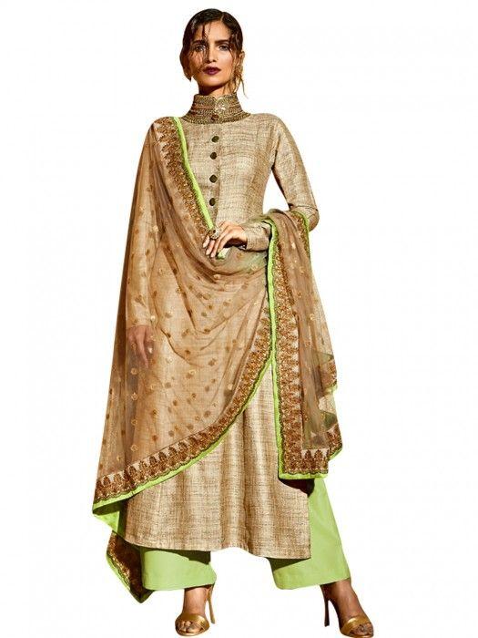 Stunning beige silk Salwar Suit for wedding