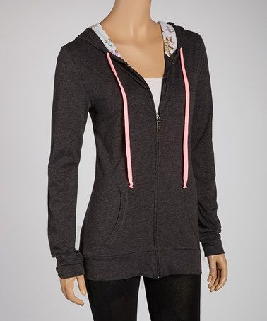 Take a look at this Charcoal & Pink Zip-Up Hoodie by Zenana on #zulily