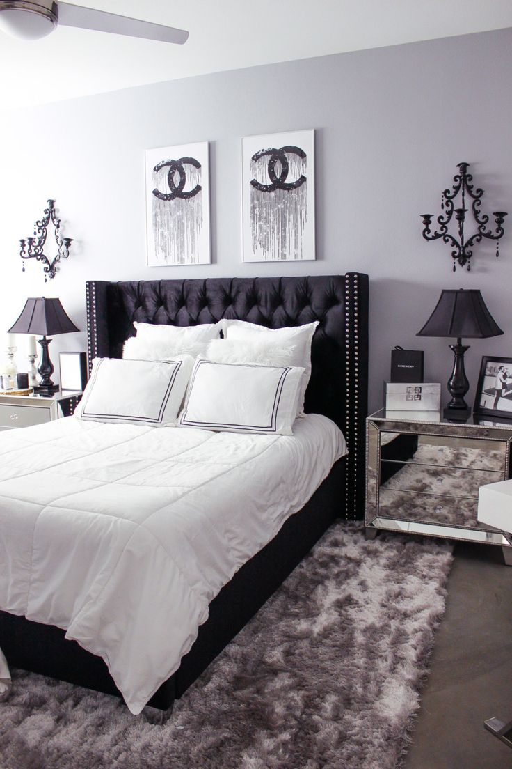 Black White Bedroom Decor Reveal Chambre A Coucher Noir Et Blanc