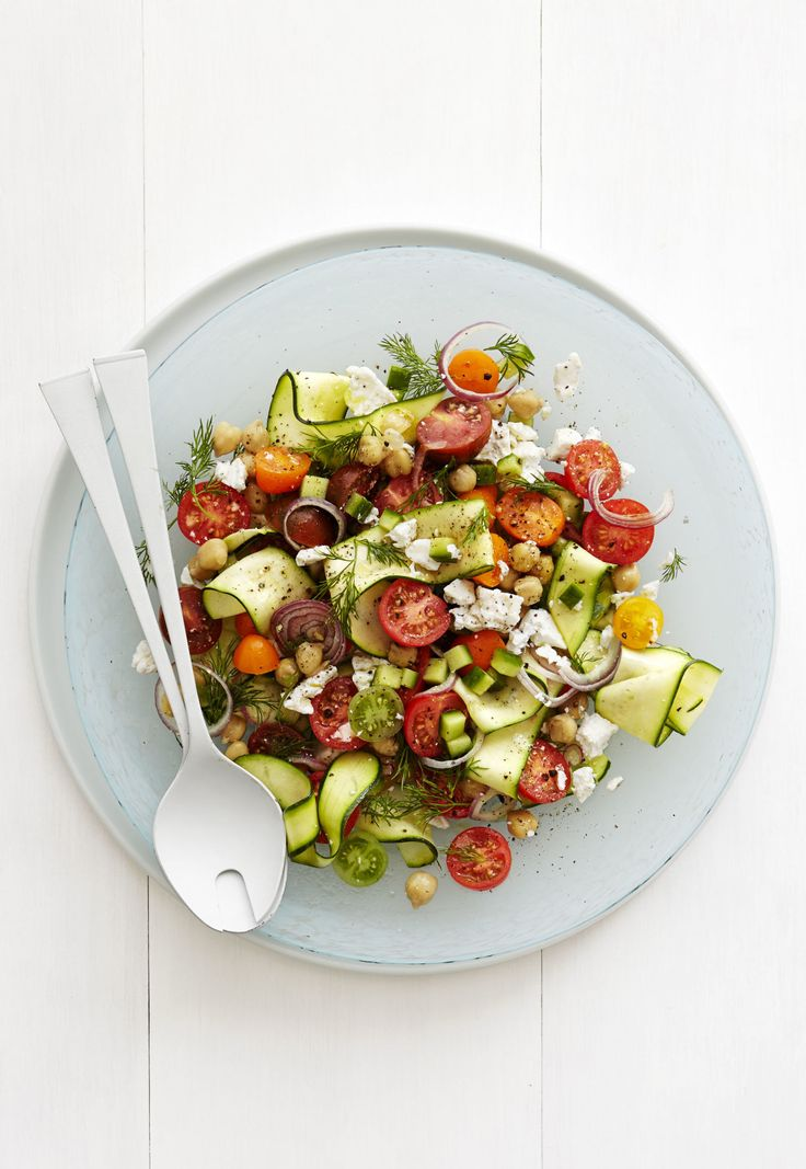 Zucchini Ribbon Greek Salad - tried this for dinner with a small steak ...