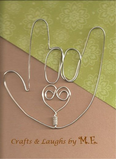 I Love You Sign Language wire bookmark by CraftsLaughsbyME