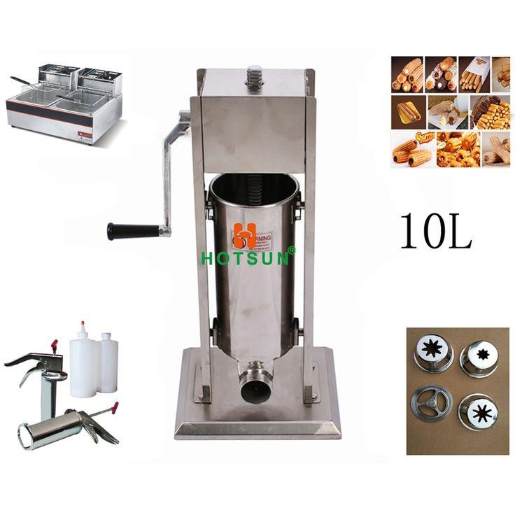 650.00$  Watch now - http://ali01c.worldwells.pw/go.php?t=32783386599 - Free Shipping 10L Manual Spanish Donut Churros Machine W 12L Deep Fryer N 700ml Filler 650.00$