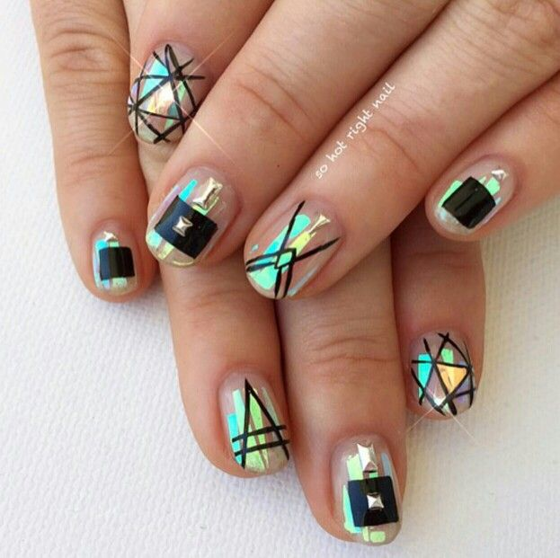 Mylar nail art, geometric nails