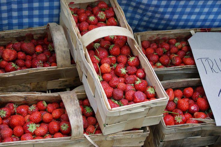 Breakfast market in Sopot Poland Strawberries