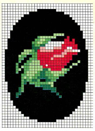 Cross-stitch or bead pattern would make a nice pendant or small amulet bag necklace