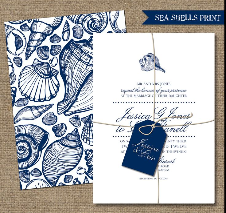 BEACH WEDDING INVITATIONS - Custumizable Printable Designs - Blue and White - SeaShells Print. $45.00, via Etsy.