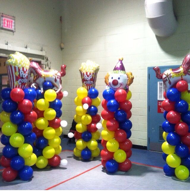 Carnival Theme Balloon Columns, send in the clowns!!! Balloon decor