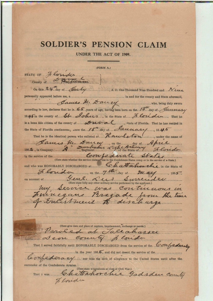 Soldieru0027s Pension Claim - DANCY, James Mortimer (Francis - pension service claim form