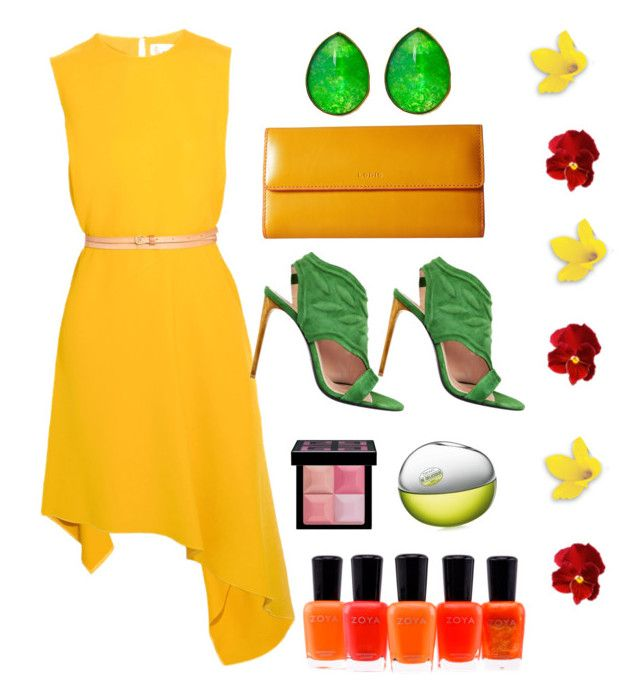 """""""Yellow & Green Summer"""" by amaliamatei on Polyvore featuring Victoria Beckham, Givenchy, Roland Mouret, Jona, Lodis, DKNY and Zoya"""