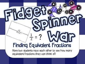 Directions: Have students pair up. Spin the spinner. While the spinner is spinning, have students come up with as many equivalent fractions as they can. The fraction they are trying to find equivalent fractions to is written on the page. There is a blank page without any fraction written.