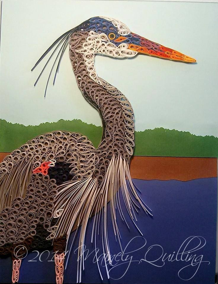Quilled Great Blue Heron by Mainely Quilling, 8x10  #quilling #bird #heron