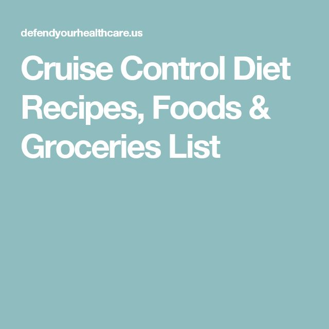 Cruise Control Diet Recipes, Foods & Groceries List