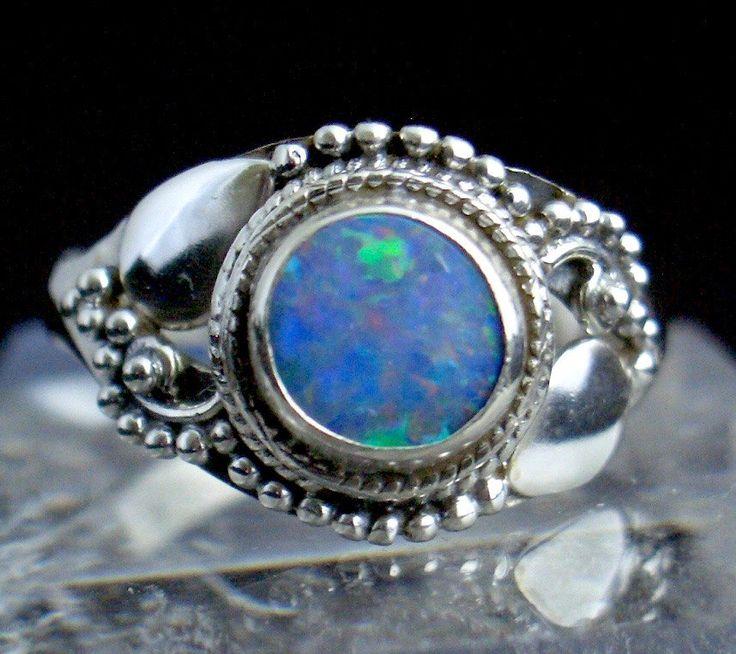 Australian Fire Opal Genuine Gemstone 925 Sterling Silver Renaissance Style Amazing Ring Jewellery Size 9 by Ameogem on Etsy