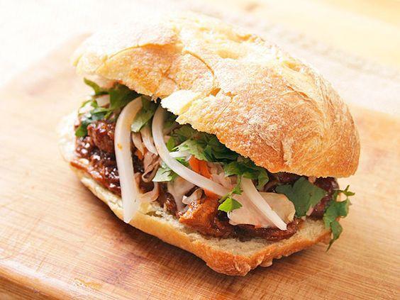 Carne Adovada (Chili-Braised Pork) in sandwich