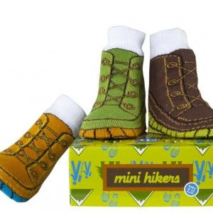 """How cute are these """"hiking boot"""" baby socks?"""