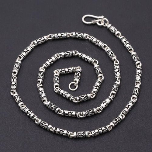 "4 mm Men's Sterling Silver Carved Tube Chain 18""-24"""