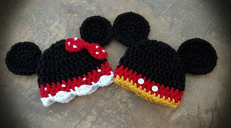 Mickie and Minnie Mouse inspired Twin Infant Beanies. $30.00, via Etsy.