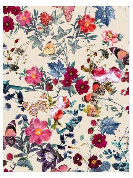 Bomuldsjersey - med blomster og sommerfugle