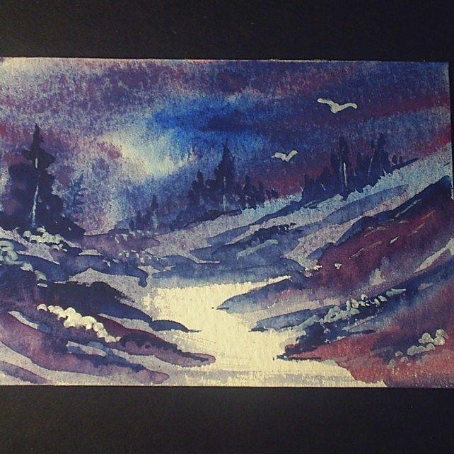 aceo SFA original miniature watercolour painting landscape dark skies £4.00