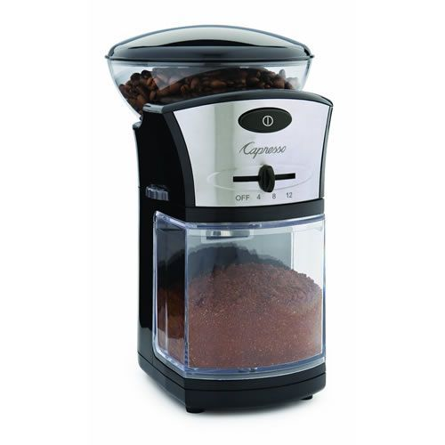 The Jura-Capresso Coffee Burr Grinder (55904) is the perfect tool for fresh ground coffee for espresso machines, drip coffee makers and French press. With 17 grind settings you can adjust from coarse to fine to suit your preferred brewing method. Set the timer to grind for between 2 to 12 cups of brewed coffee. The coffee bean container can hold up to 8 ounces and the ground container holds up to 5 ounces.