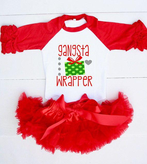 Christmas Outfit for Girls - Girl Christmas Outfit - Gangsta Wrapper - Christmas Outfit for Toddler Girl- Christmas Raglan Shirt