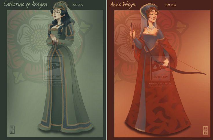 Catarina de Aragão e Ana Bolena por Rebecca Black-Gliko, no Deviantart.