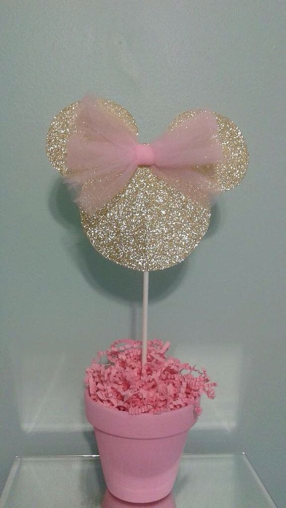 Minnie Mouse Centerpiece, Pink and Gold Minnie Mouse, Gold Glitter Minnie Mouse