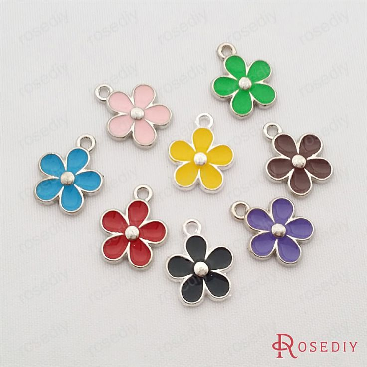(29715-G)5PCS 15*12.5MM Random mixed color Zinc Alloy Oil Paintings Flower Charms Diy Handmade Jewelry Findings Accessories