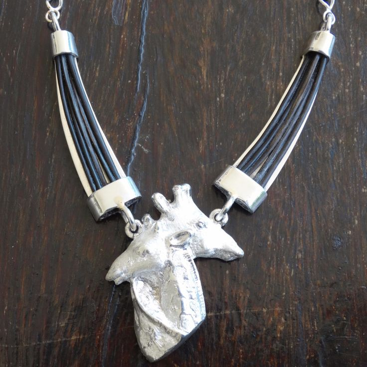 Large Twin Giraffe Head with Elephant Hair Tusk Choker and Chain. In Sterling Silver or Gold. GoodiesHub.com