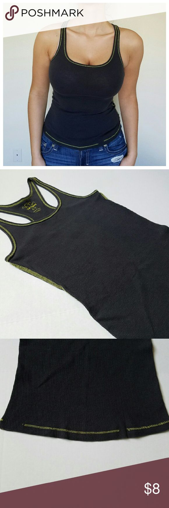 NWOT Charcoal Ribbed Razorback Tank New without tags condition charcoal ribbed racerback tank with yellow stitching detailing all over. Yellow stitching is broken at the bottom of the front of the tank as pictured and photo 3. All other stitching is intact. Tank is true to size. No other rips besides the break and stitching mentioned earlier and no stains. Old Navy Tops Tank Tops